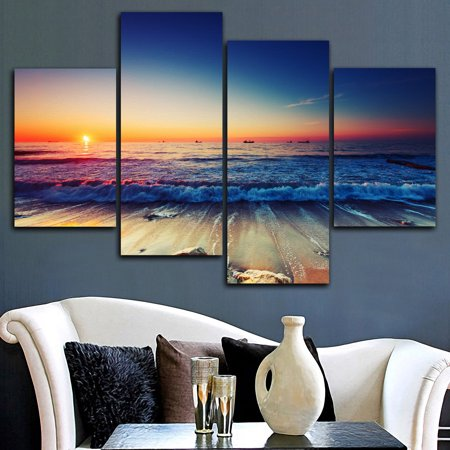 Framed 4Pcs Modern Beach Sunset Seascape Canvas Wall Art Printed Painting Pictures Living Room Bedroom Home Decor