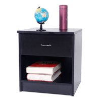 Zimtown Zimtwon Nightstand Bedside Table Bedroom Night Stand Furniture Open Storage W/Drawer End Table,Black/White
