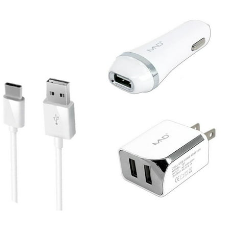3-in-1 USB Type-C Chargers Bundle for ZTE Blade Z Max Z982, Blade Spark  Z971, Blade X Max (White) - 2 1Ah Car Charger + Home Charger Adapter + USB