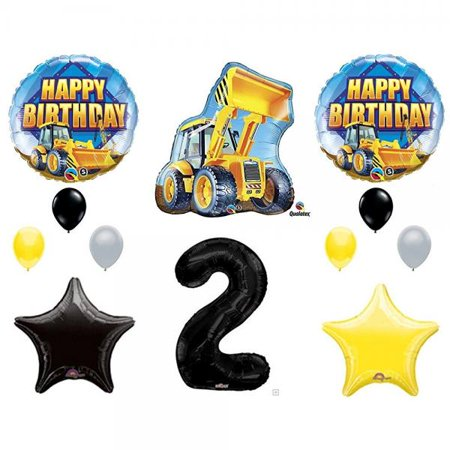 2nd BIRTHDAY CONSTRUCTION Balloons Decoration Supplies Party Boy Dump Truck Bulldozer Second