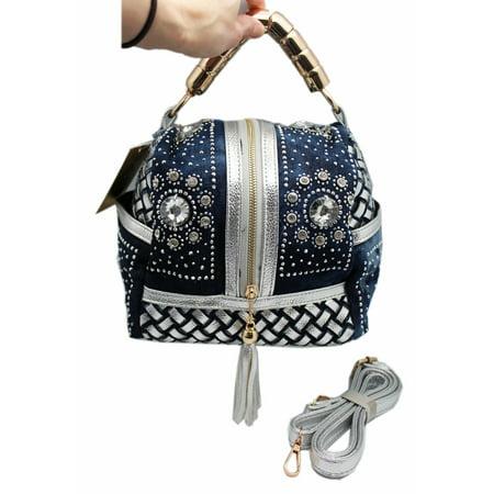 Rhinestone Emblazoned Blue Colored Miniature Handbag With Metal Handle
