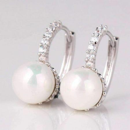 ON SALE - Pearl Bead Solitaire Hoop Earrings White Gold
