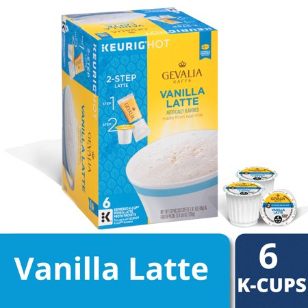 Krups Espresso Pods - Gevalia Vanilla Latte K Cup Espresso Pods with Latte Froth Packets, Caffeinated, 6 ct - 5.99 oz Box