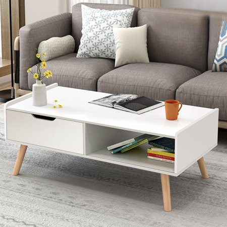 Costway Modern Coffee Table Side End Table Cabinet With Drawers Solid Wood Legs ()