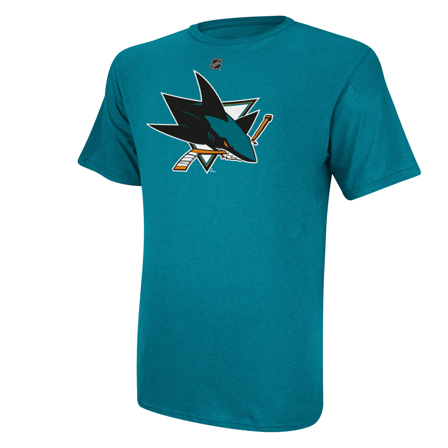 San Jose Sharks Reebok NHL Primary logo Men T Shirt Teal