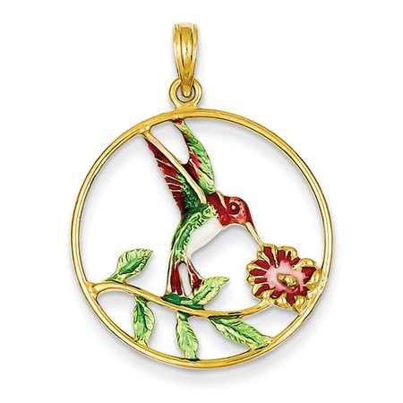 (14k Yellow Gold Enameled Hummingbird & Flower Round Frame Pendant)