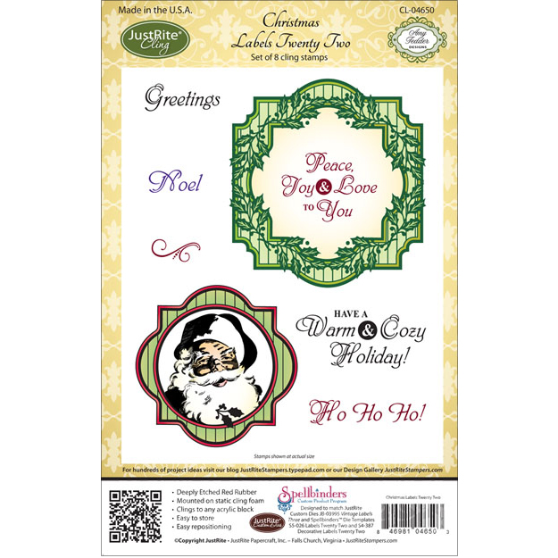 "JustRite Papercraft Cling Stamps 5.5""X8.5""-Christmas Labels 22"