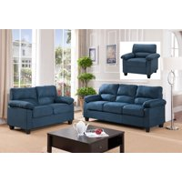 Joyland 3 Piece Transitional Living Room Set, Blue, Upholstered Microfiber, (Chair Loveseat & Sofa)