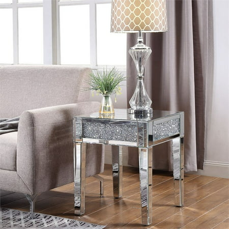 Acme Noralie End Table in Mirrored and Faux Diamonds - Mirrored Painted Table