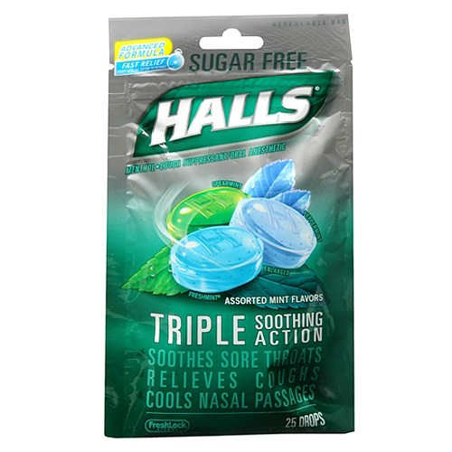 Halls Sugar Free Assorted Mint Cough Suppressant/Oral Anesthetic Drops, 25 count