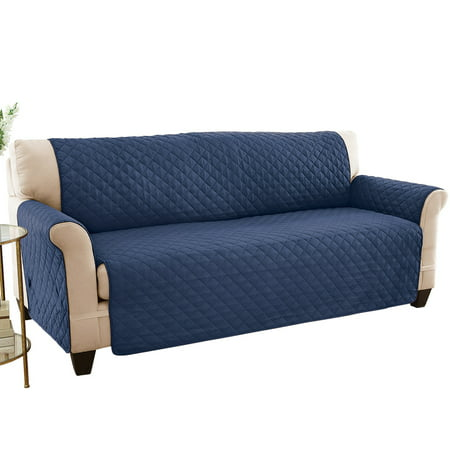 Reversible Spill Resistant Quilted Furniture Protector Cover with Ties - Covers Seat Bottom, Seat Back and 2 Seat Arms, Sofa, Navy/Blue (Waterproof Sofa Cover)