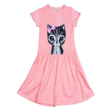 Dress For Cats (ZEFINE Kids Girls Summer Cat Print T-Shirt Dress)