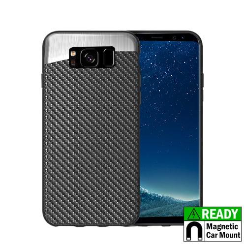 MUNDAZE Carbon Fiber Design Magnetic Ready Case For Samsung Galaxy S8 Phone