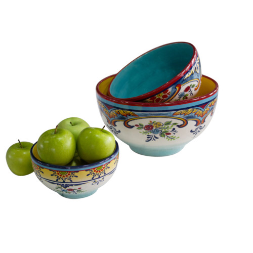 EuroCeramica Zanzibar 3 Piece Mixing Bowl Set