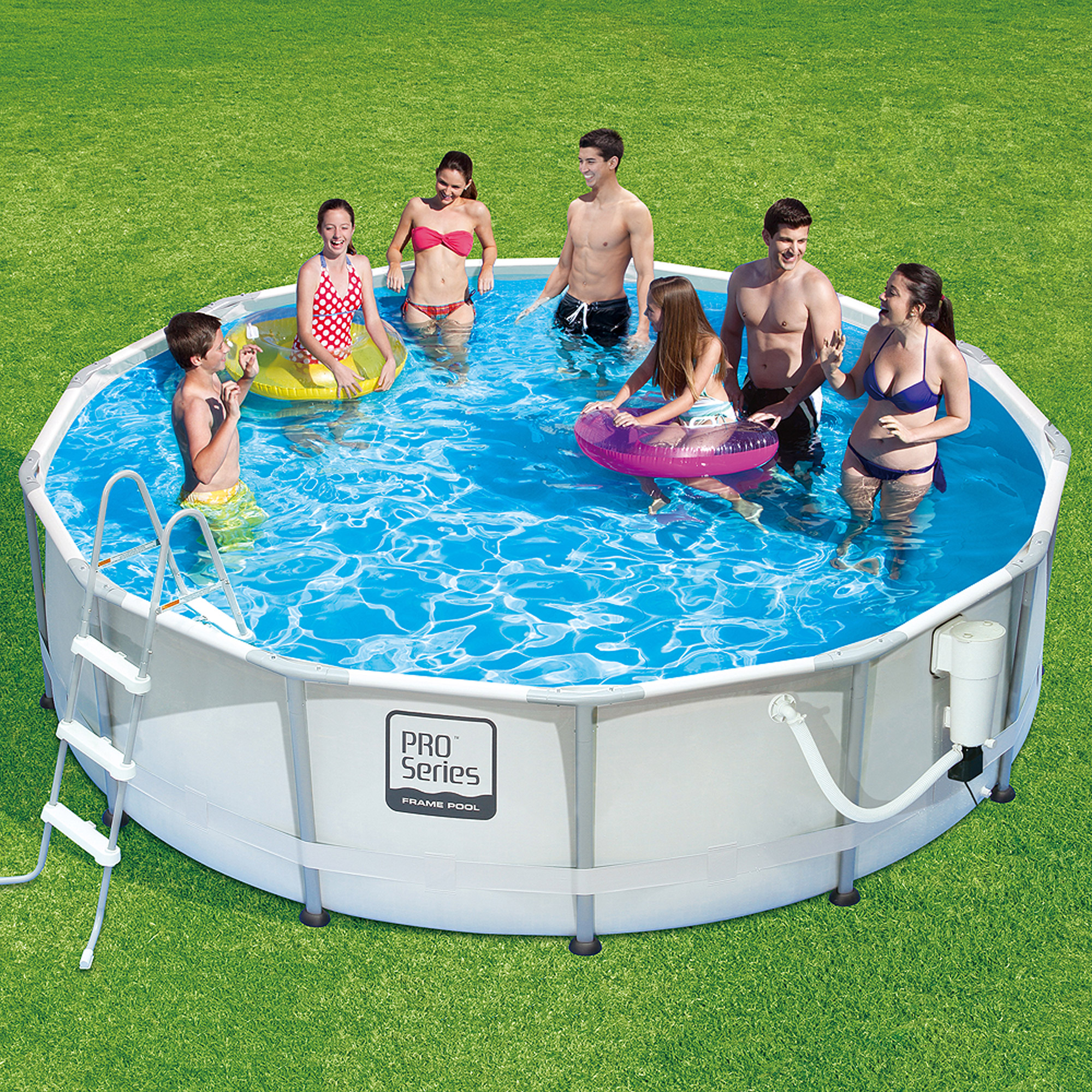 "Summer Waves ProSeries 14' x 42"" Premium Frame Above Ground Swimming Pool with Deluxe Accessory Set"