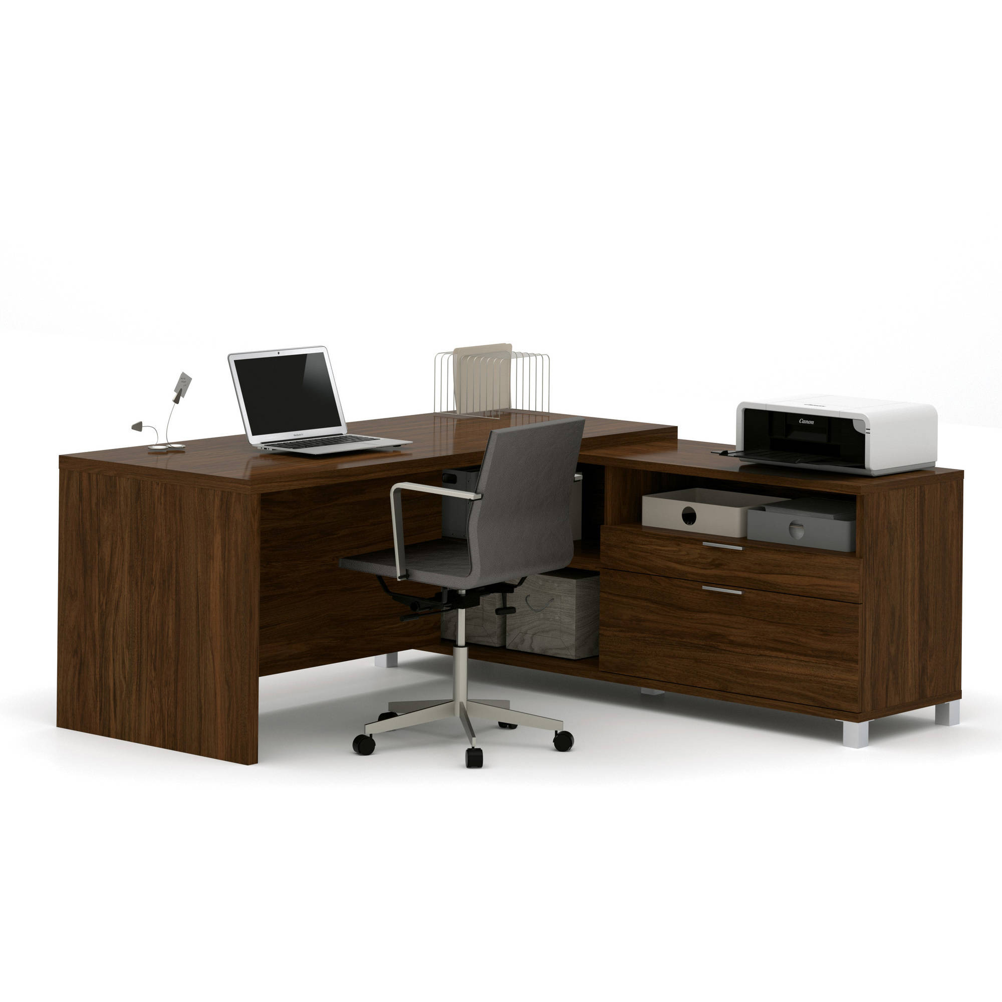 Bestar Pro-Linea L-Desk, Oak Barrel
