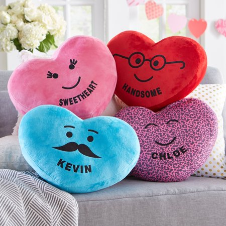 Personalized Plush Heart Character & Candies Pillow - Available in 4 (Best Candy To Throw In A Parade)