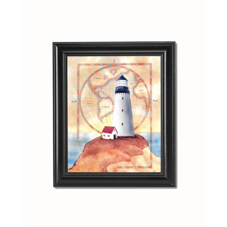 Lighthouse and Cottage on Cliff with Map #3 Black Framed 8x10 Art Print ()