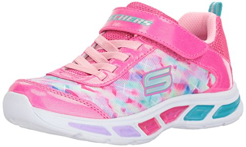 Skechers Kids Girls' Litebeams-Dance N'Glow Sneaker,Neon Pink/Multi,10.5 Medium US Little Kid