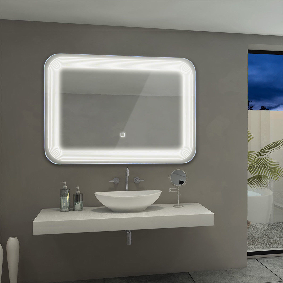 Product Image Costway LED Wall Mount Mirror Bathroom Vanity Makeup  Illuminated Mirror W/Touch Button