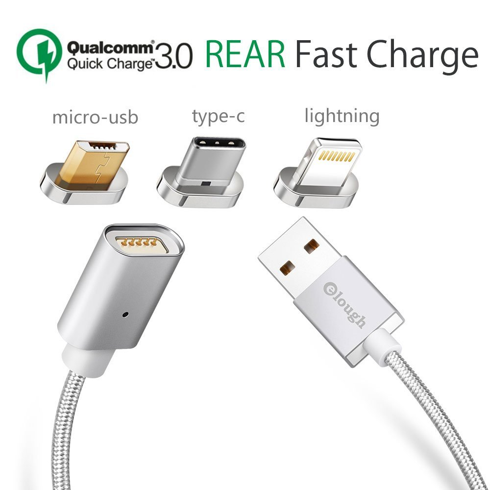 [ Quick Chrage 3.0 ] Multi 3-in-1 Magnet Cable 3.3ft Lightning Type-C Micro-usb Magnetic for Android cell phone iphone... by lough