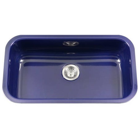Houzer PCG-3600 NB Porcela Series Porcelain Enamel Steel Undermount Large Single Bowl Kitchen Sink, Navy Blue