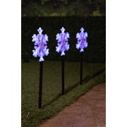 Alpine Snowflake Stake with 12 Flashing LED Light and Timer, 24 Inch Tall - Pack of 3
