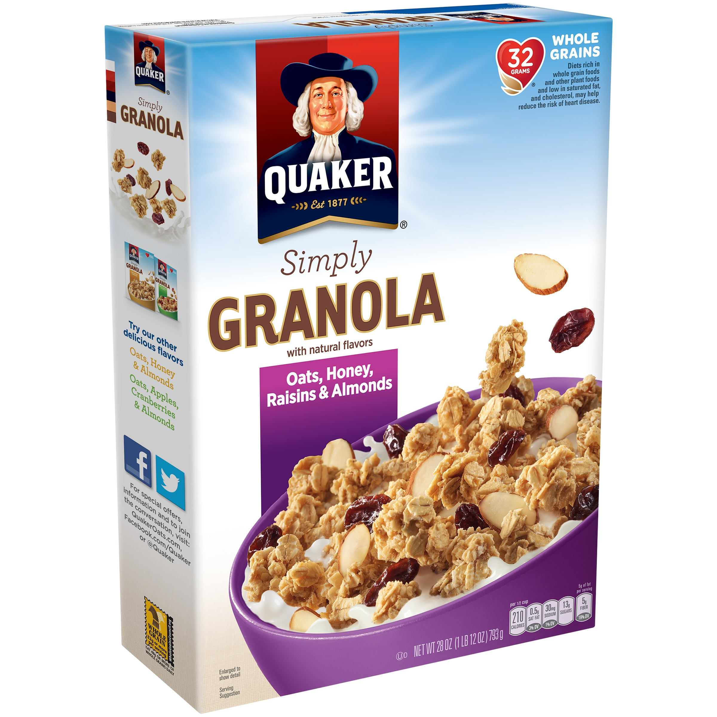 Quaker Simply Granola, Oats, Honey, Raisins & Almonds, 28 oz Box