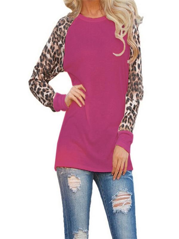 Womens Leopard Blouse Long Sleeve Fashion Ladies T-Shirt Oversize Tops