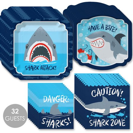 Shark Zone - Jawsome Shark Party or Birthday Party Tableware Plates and Napkins - Bundle for 32](Shark Party Plates)