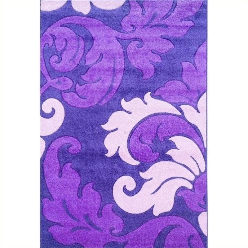 "Hawthorne Collection 8' x 10'3"" Kids Area Rug in Purple and Baby Pink"