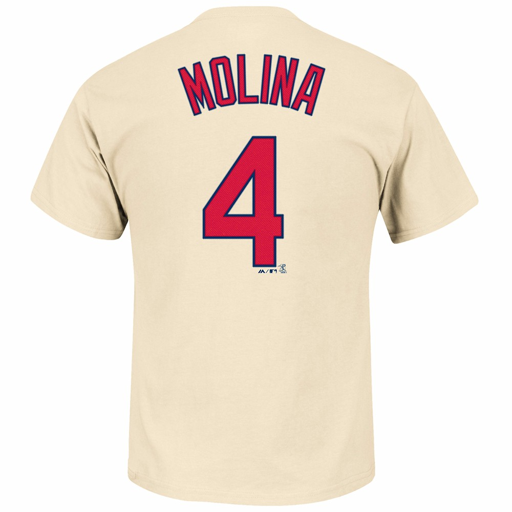 Yadier Molina St. Louis Cardinals MLB Majestic Men's Cream Name & Number Player Jersey T-Shirt