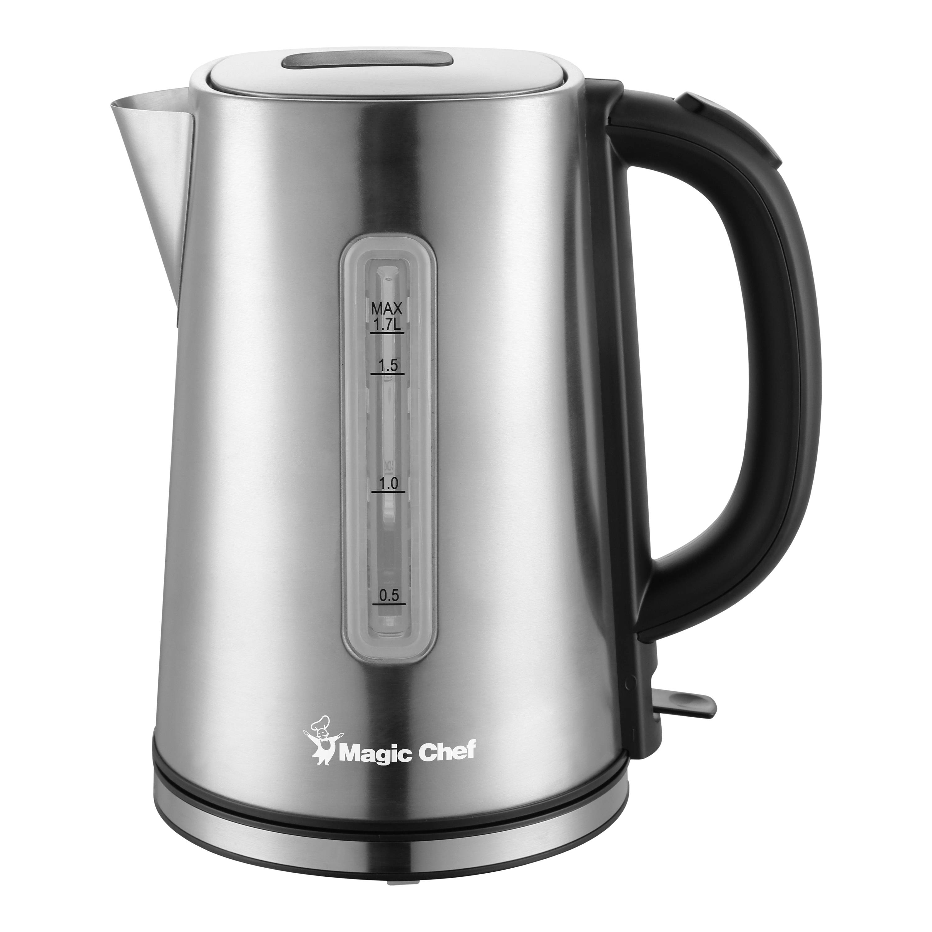 Magic Chef 1.7 Liter Electric Kettle, Stainless Steel