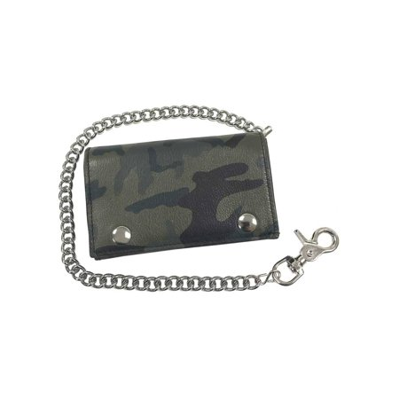 Motorcycle Mens Genuine Leather Tri-Fold Wallet with Chain, Green Camo OCF817 ()