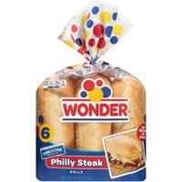 Wonder Bread Philly Steak Rolls, 6 Count Bag