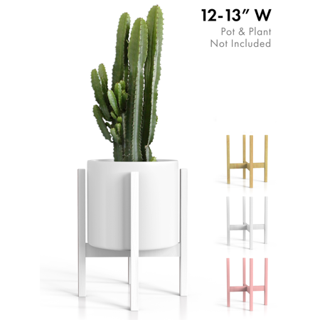 Modern Masters Plaster - Plant Stand Mid Century Modern Tall Planter Holder - White Wood Pot Shelf for Indoor/Outdoor 12