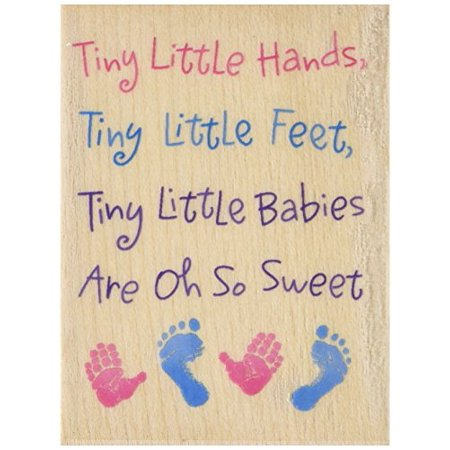 Rubber Stamp With Wood Handle, Precious Baby Tiny Hands, Tiny (Wood Stamping)