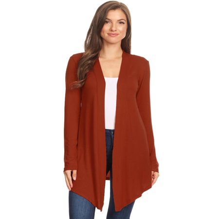 MOA COLLECTION Women's Solid Casual Basic Comfy Loose Fit Long Sleeve Open Front cardigan