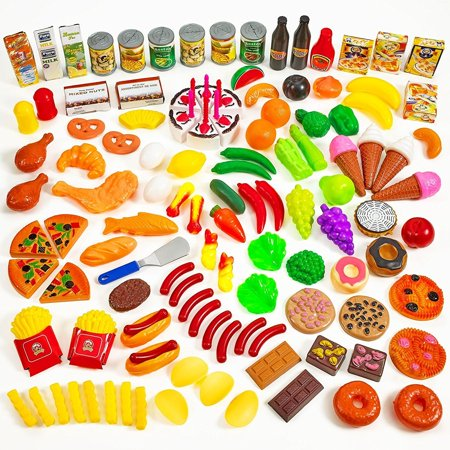 (120pc Play Food Set for Kids & Toy Food for Pretend Play - Huge 120 Piece Play Kitchen Set with Childrens Educational Food Toys for Toddlers Inspires Imagination - Fake Plastic Foods for Cooking)
