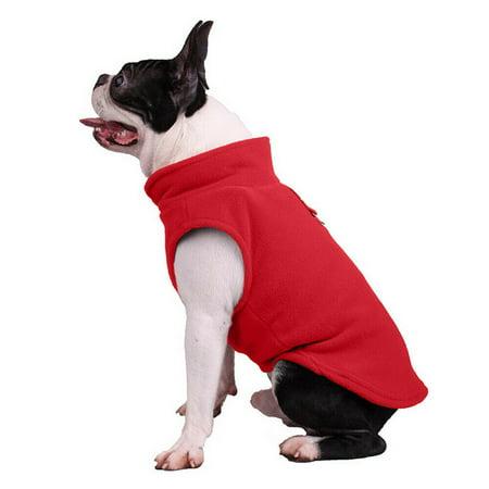 Pet Fleece Harness Vest Jacket Jumper Sweater Coat For Small Medium Large Dog Red (American Bulldog Dog Shoes)