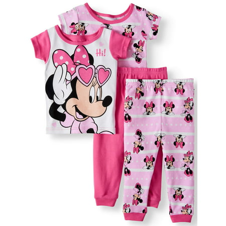 Toddler Girls' Minnie Mouse Cotton Tight Fit Pajamas, 4-Piece Set](Minnie Mouse Toddler Shoes)