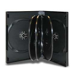 27mm 8 Disc Black CD/DVD Case with 3 Trays (50 pack)