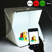ELEGANT CHOISE 17 inches Portable Photography Photo Studio, Upgraded Version LED Light Portable Mini Photo Light Box Studio with 2pcs LED Lights and 4pcs Backgrounds (17x16.2x16 inches)