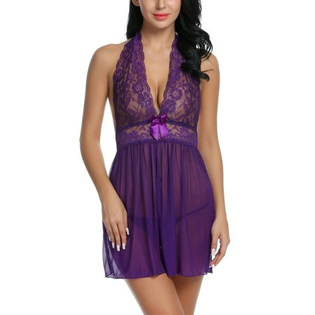 Women's Sexy Lingerie Lace Sleepwear Babydoll   Splicing Sexy  Dress and G-String Miniskirt