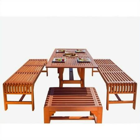 Vifah Patio Furniture.Vifah Malibu 5 Piece Wood Patio Dining Set