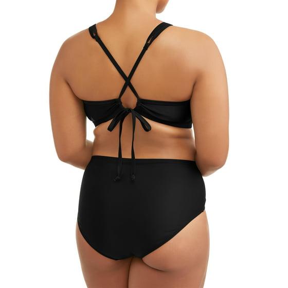 676c90a5acd41 Time and Tru - Women's Plus Size Core High Neck Print Bikini Swimsuit Top -  Walmart.com