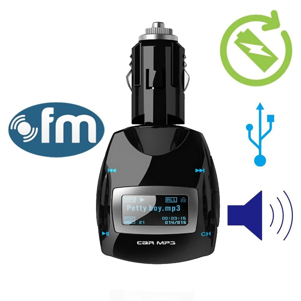 Car Kit MP3 Player Wireless FM Transmitter Kit Cars FM Modulator Listen to Streaming Music Player with USB/SD/Card Reader MMC Slot and Remote Control