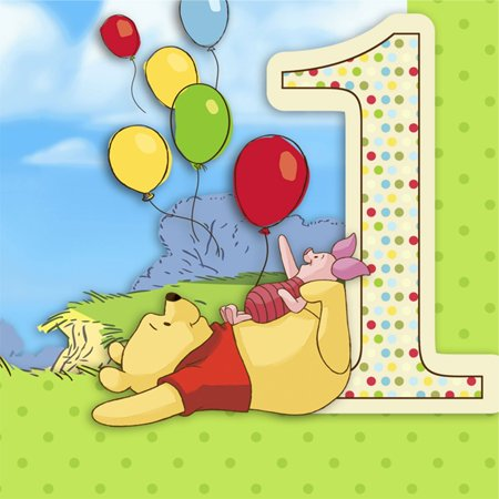 Pooh and Pals 1st Birthday Lunch Napkins Party Supplies 16 Ct](Pooh Party Supplies)
