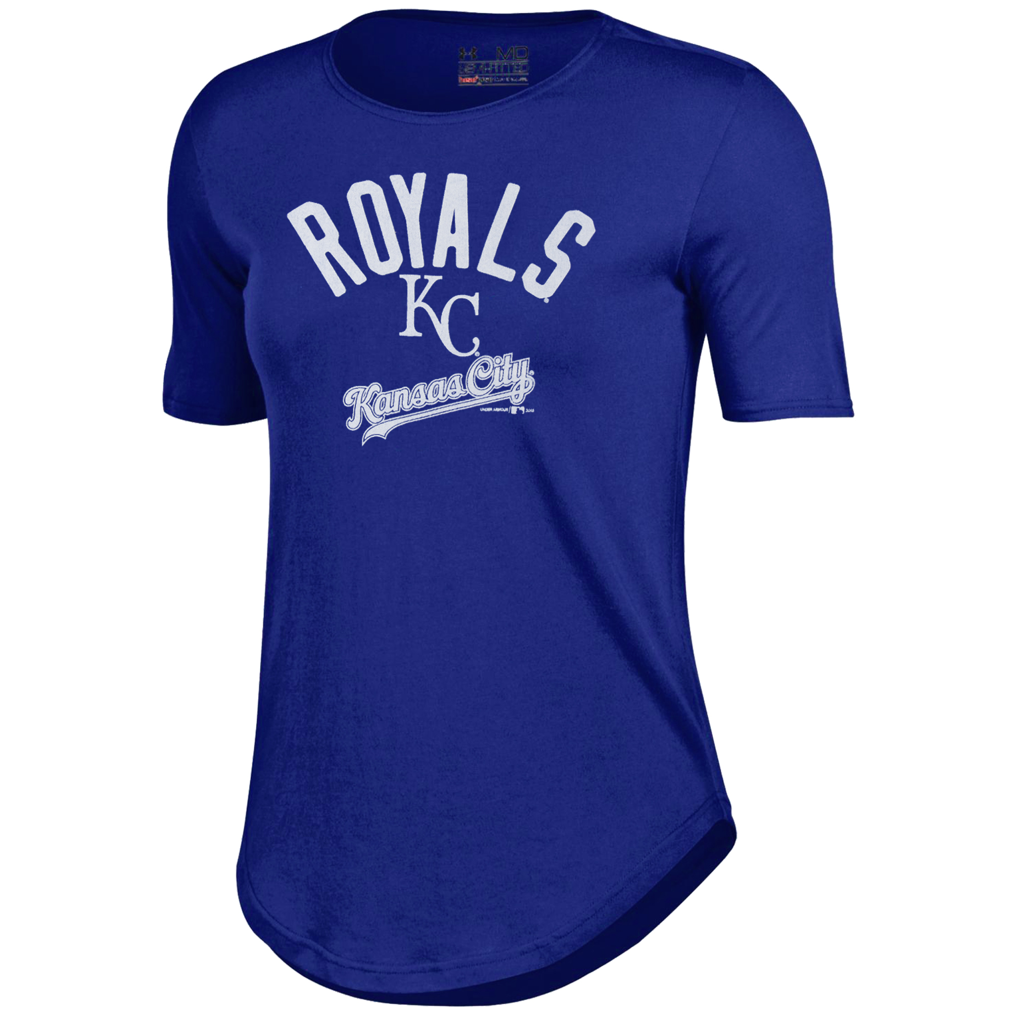 Kansas City Royals Under Armour Women's Rounded Hem Performance T-Shirt - Royal