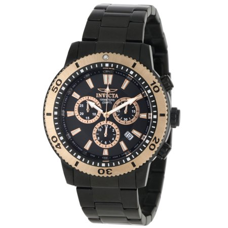 Invicta 1206 Men's Specialty II Black Dial Gold Tone Bezel Black IP Steel Chronograph Watch